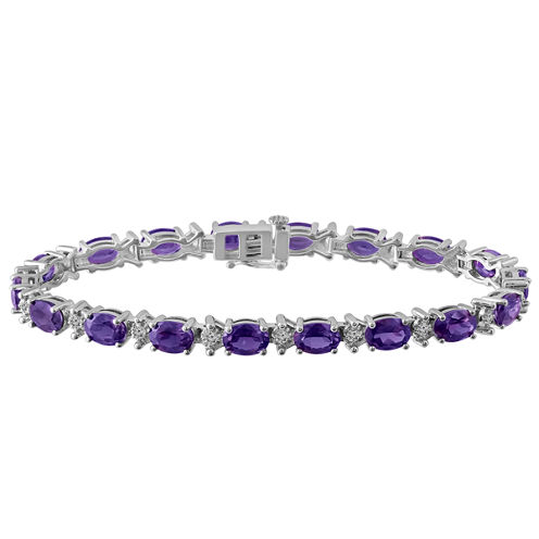 Womens 7 1/2 Inch Purple Amethyst Sterling Silver Chain Bracelet