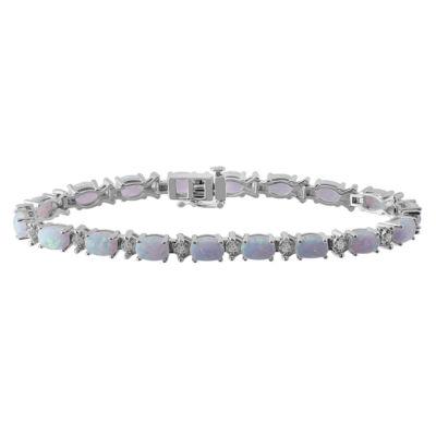 Womens 7 1/2 Inch White Opal Sterling Silver Chain Bracelet