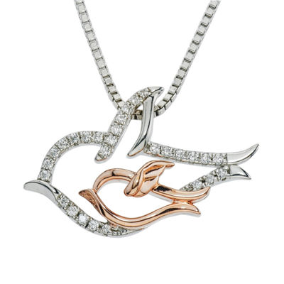 Womens 1/10 CT. T.W. Genuine White Diamond 10K Gold Sterling Silver Pendant Necklace