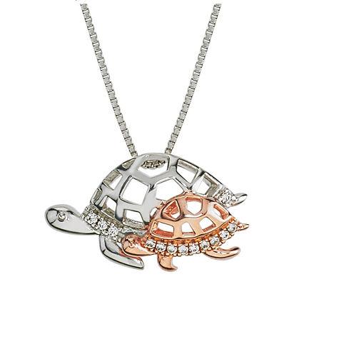 Womens Diamond Accent White Diamond 10K Gold Sterling Silver Pendant Necklace