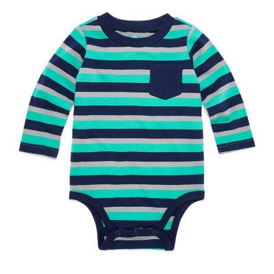 Okie Dokie Long Sleeve Stripe Bodysuit - Baby Boy NB-24M