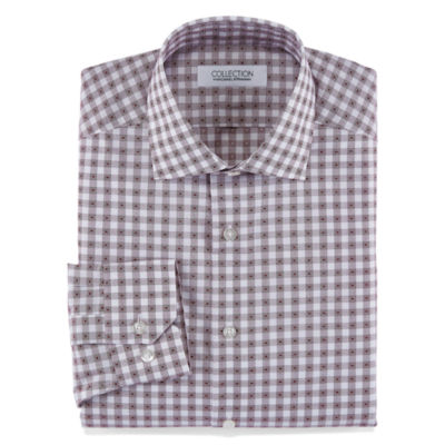 Collection by Michael Strahan Stretch Fabric Long Sleeve Dress Shirt Woven Gingham