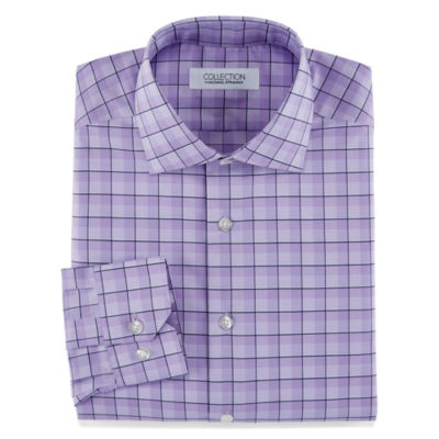 Collection by Michael Strahan Stretch Fabric Long Sleeve Dress Shirt Woven Grid