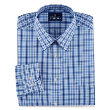 Stafford Travel Performance Super Long-Sleeve Broadcloth Plaid Dress Shirt
