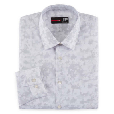 JF J.Ferrar Long Sleeve Broadcloth Pattern Dress Shirt - Slim