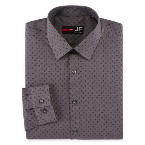 JF J.Ferrar Long Sleeve Woven Diamond Dress Shirt - Slim