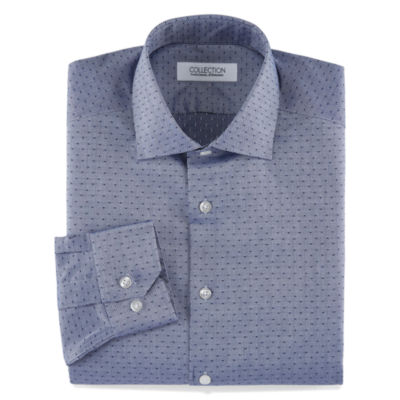 Collection by Michael Strahan Stretch Fabric Long Sleeve Dress Shirt Woven Dots Big & Tall