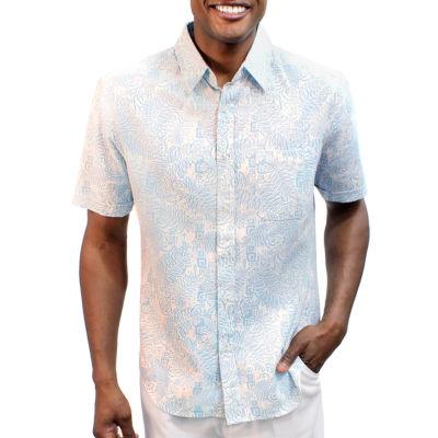 Steve Harvey Short Sleeve Leaf Button-Front Shirt