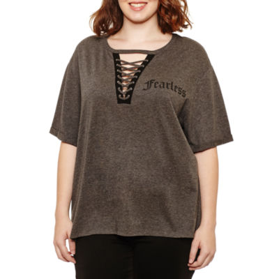 """Short Sleeve """"Fearless"""" Lace Up T-Shirt- Juniors Plus"""