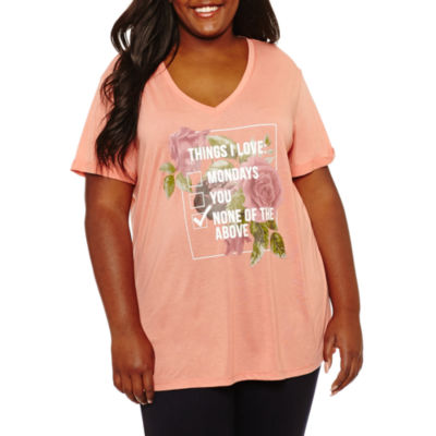 Short Sleeve V Neck Graphic T-Shirt-Juniors Plus
