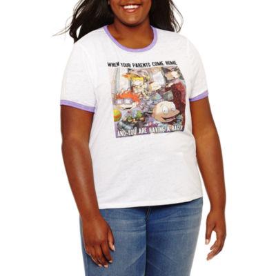 Short Sleeve Crew Neck Graphic T-Shirt-Juniors Plus