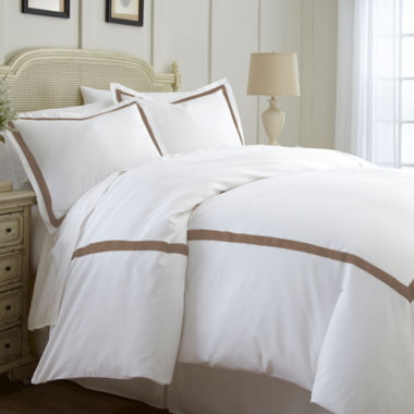 Pacific Coast Textiles 600TC Luxury Cotton 3pc Contrast Band Duvet Set