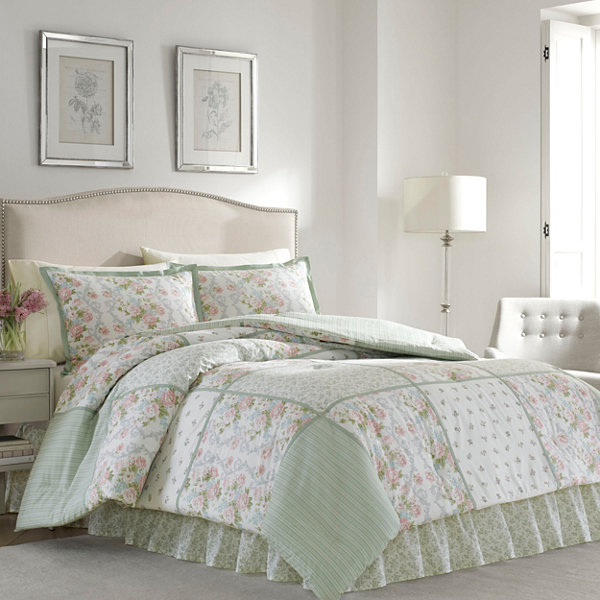 laura ashley harper 4 pc comforter set jcpenney. Black Bedroom Furniture Sets. Home Design Ideas