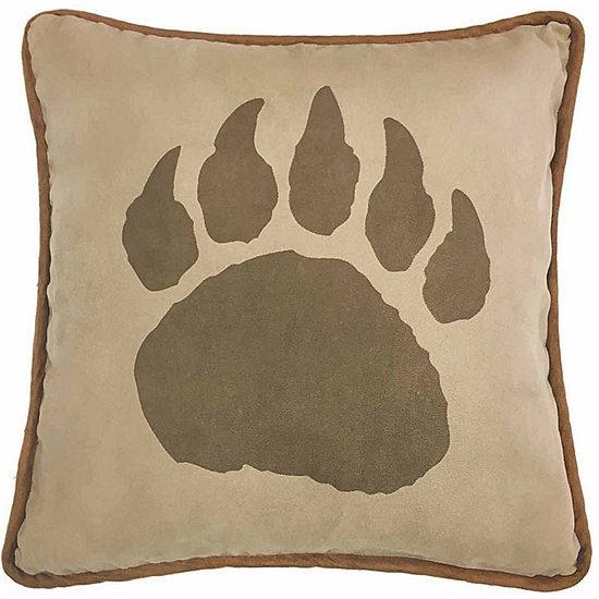 Hiend Accents 18x18 Faux Suede And Leather Bear Claw Reversible Bed Rest Pillow