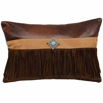 Hiend Accents 12x18 Faux Suede With Concho And Fringe Bed Rest Pillow