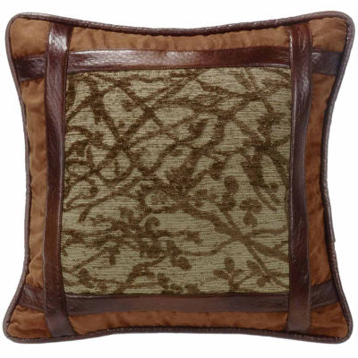 Hiend Accents 18x18 Framed Tree With Faux LeatherDetail Bed Rest Pillow