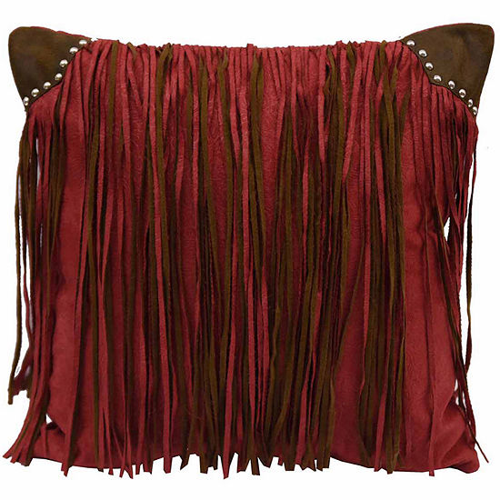 Hiend Accents 18x18 Fringed Faux Suede With StudsBed Rest Pillow