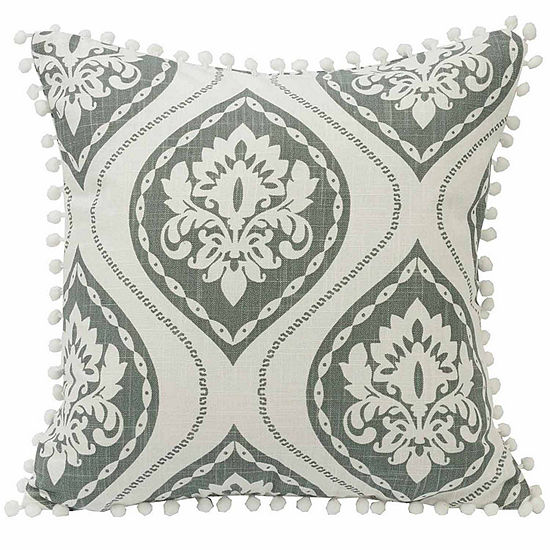 Hiend Accents 18x18 Graphic Print With Pom Trim Bed Rest Pillow