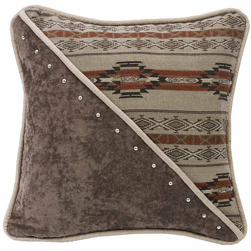 Hiend Accents 18x18 Half Fabric And Half Print Leather Piping Bed Rest Pillow