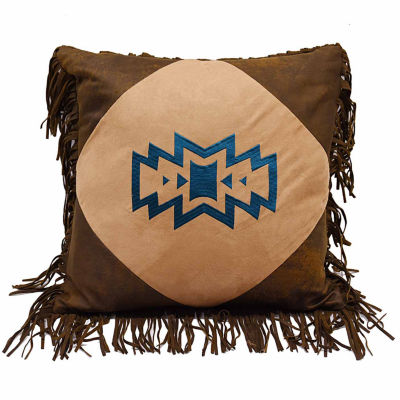Hiend Accents 18x18 Southwest Emblem With Fringe Bed Rest Pillow