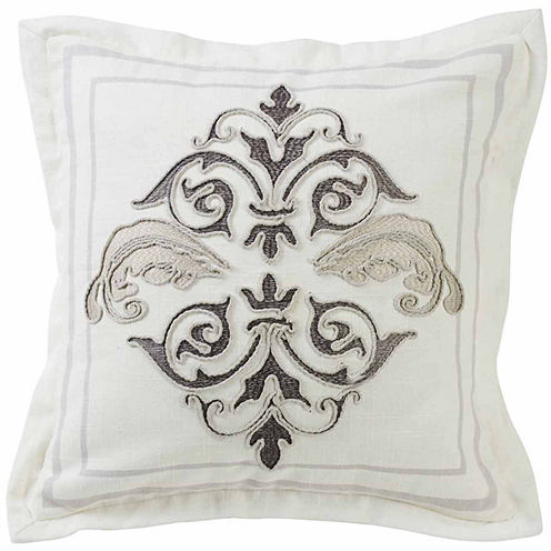 HiEnd Accents Square Outlined Embroidered Design Pillow with Flange