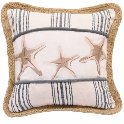 Hiend Accents 18x18 Starfish Cotton Wth EmbroideryBed Rest Pillow