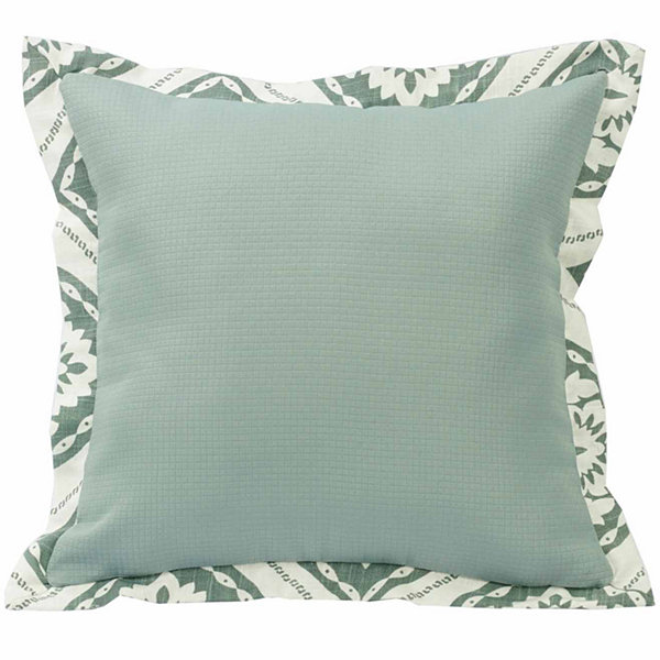 Hiend Accents 18x18 Textured Fabric With Graphic Print Flange Bed Rest Pillow