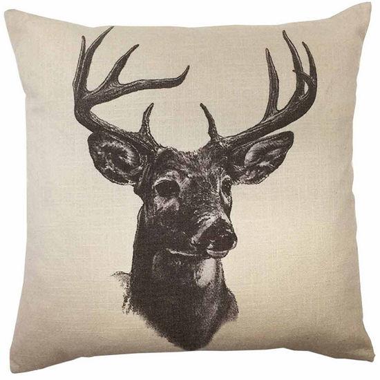 Hiend Accents 18x18 Tail Deer Linen Print Bed RestPillow