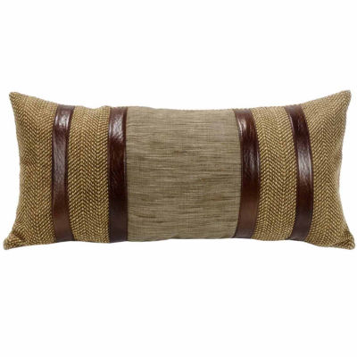 Hiend Accents 12x26 Herringbone With Faux LeatherStripes Bed Rest Pillow