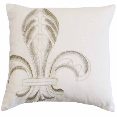 HiEnd Accents Embroidery Fleur De Lis Pillow