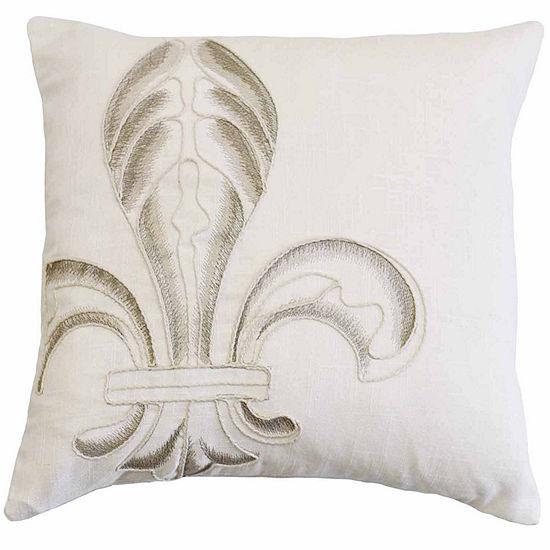 HiEnd Accents Embroidery Fleur De Lis Pillow