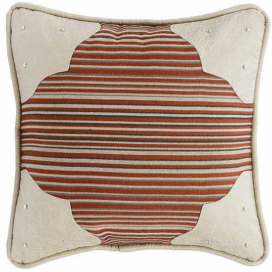 Hiend Accents 18x18 Faux Leather Corner Scallop Bed Rest Pillow