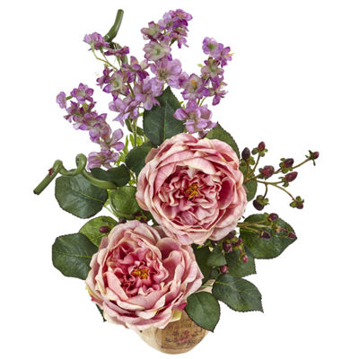 Large Rose And Dancing Daisy In Wooden Pot Floral Arrangement