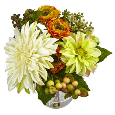 Mixed Dahlia And Mum With Glass Vase Floral Arrangement