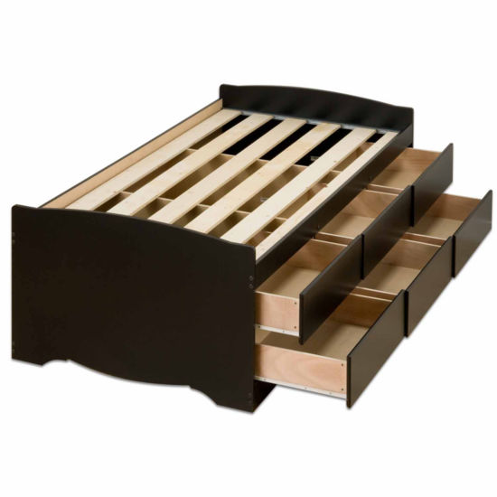 Prepac Tall Captain's Platform Storage Bed with Drawers
