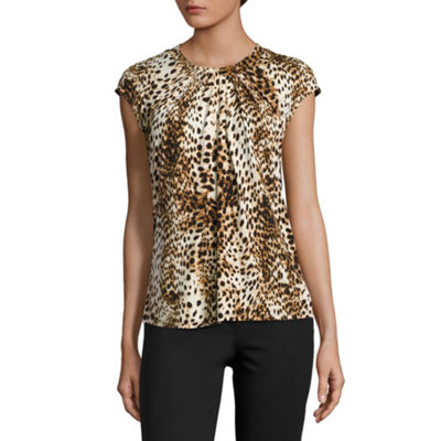 Liz Claiborne Cap Sleeve Twist Neck Top-Womens