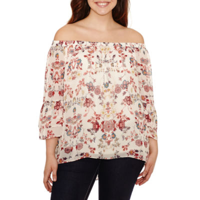 Alyx 3/4 Sleeve Round Neck Woven Bohemian Blouse - Plus
