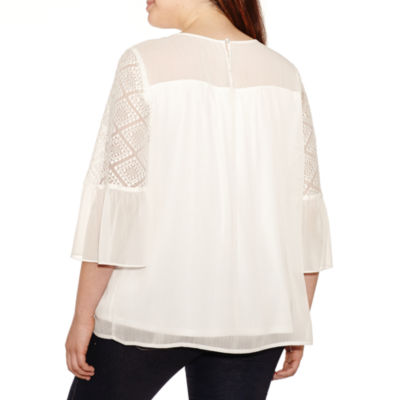 Alyx Elbow Sleeve Crew Neck Woven Blouse-Plus