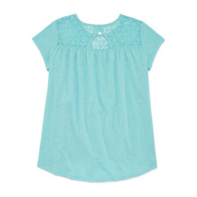 Arizona Short Sleeve Lace Yoke Top - Girls' 4-16 & Plus
