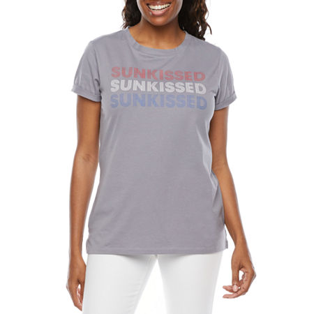 St. John's Bay Womens Crew Neck Short Sleeve T-Shirt, Petite X-large , Gray