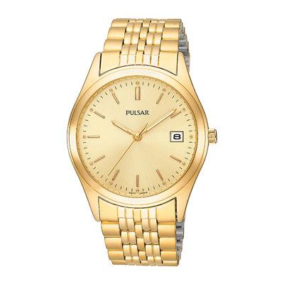Pulsar® Mens Dress Gold-Tone Watch PXH450