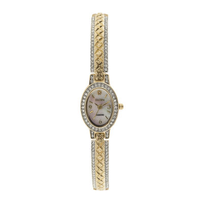 Elgin® Womens Gold-Tone Mother of Pearl Watch