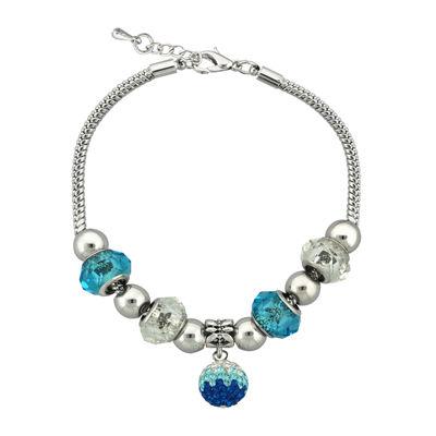 Dazzling Designs™ Teal Glass Bead Silver-Plated Fireball Drop Bracelet