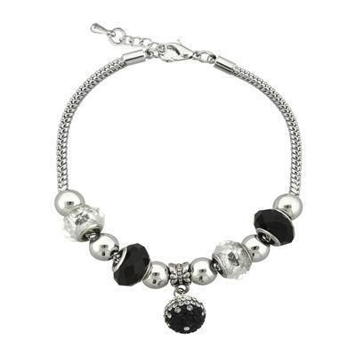 Dazzling Designs™ Black Glass Bead Silver-Plated Fireball Drop Bracelet