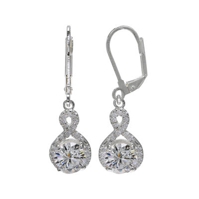 Cubic Zirconia Infinity Drop Silver-Plated Earrings