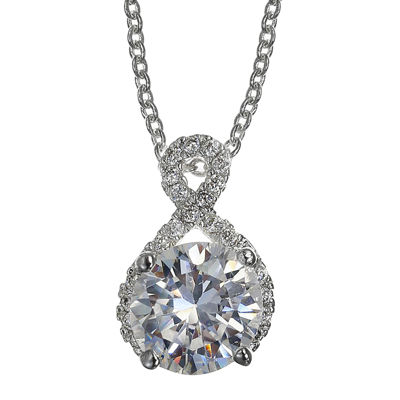 Sparkle Allure™ Cubic Zirconia Infinity Silver-Plated Pendant Necklace