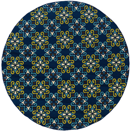 Covington Home Country Cross Indoor/Outdoor RoundRug