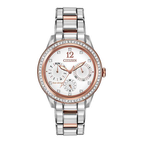 Citizen Silhouette Crystal Womens Multi-Function Two Tone Bracelet Watch-Fd2016-51a