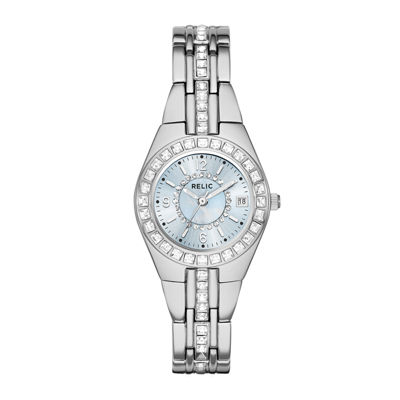 Relic® Womens Crystal-Accent Silver-Tone Bracelet Watch ZR12161