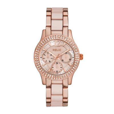 Relic® Bethany Womens Crystal-Accent Rose-Tone Bracelet Watch ZR15790